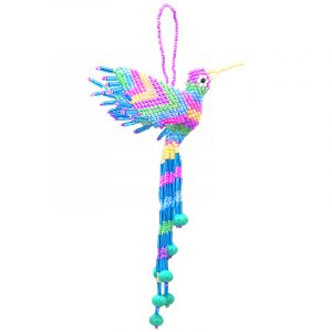 Multicolored Czech glass seed bead hummingbird figurine hanging ornament with crystal bead tail dangles in pastel color combination.