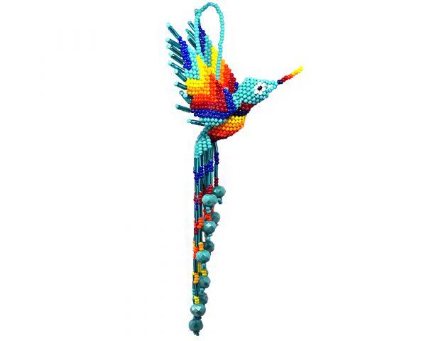 Mia Jewel Shop: Matte Czech glass seed bead hummingbird figurine hanging ornament with crystal bead tail dangles in mint turquoise and rainbow color combination.
