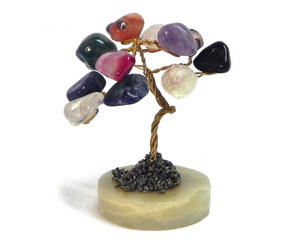 Handmade golden-colored metal wire and multicolored tumbled gemstone crystal tree of life table ornament with crushed pyrite and a round stone base.
