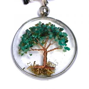 Handmade round-shaped clear acrylic resin, copper wire, and crushed chip stone inlay tree of life pendant on adjustable necklace in teal green chrysocolla.