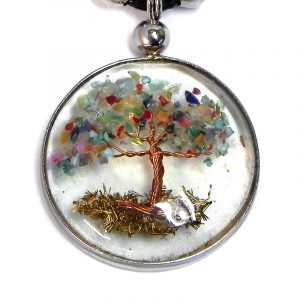 Handmade round-shaped clear acrylic resin, copper wire, and crushed chip stone inlay tree of life pendant on adjustable necklace in rainbow color combination.