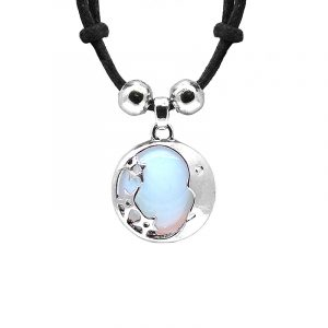 Handmade round-shaped gemstone cabochon crystal pendant with silver metal crescent half moon and stars design on adjustable necklace in iridescent white opalite.
