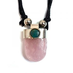 Handmade tumbled gemstone crystal pendant with silver metal and mini round chrysocolla stone on adjustable necklace in light pink rose quartz.