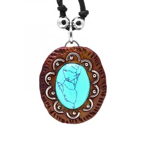 Handmade oval-shaped gemstone cabochon crystal pendant with silver metal and brown resin border on adjustable necklace in turquoise blue howlite.