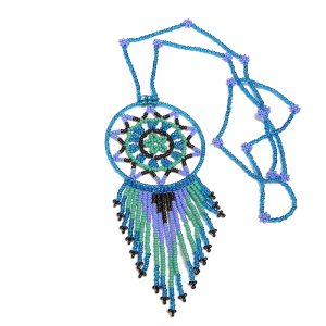 Handmade round Czech glass seed bead dream catcher pendant with star-shaped centerpiece and long beaded dangles on floral bead necklace in turquoise blue, mint, periwinkle, and burgundy color combination.