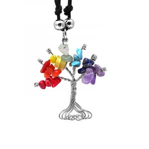 Handmade silver metal wire wrapped chip stone tree of life pendant on adjustable necklace in Chakra-themed rainbow color combination.