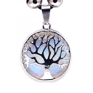 Handmade round-shaped gemstone cabochon crystal pendant with silver metal tree of life design on adjustable necklace in iridescent white opalite.