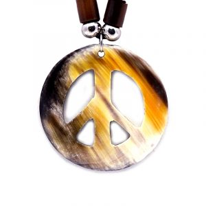 Peace sign shaped natural bull horn pendant on adjustable necklace.