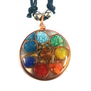 Round-shaped acrylic resin, copper metal wire, and crushed chip stone inlay orgonite pendant with 7 chakra rainbow circle pattern on adjustable necklace.