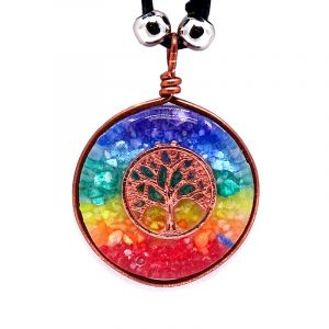 Round-shaped acrylic resin and crushed chip stone inlay orgonite pendant with 7 chakra rainbow striped pattern and copper metal tree of life charm on adjustable necklace.