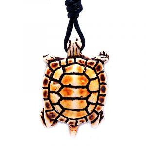 Handmade brown sea turtle resin pendant on adjustable necklace.