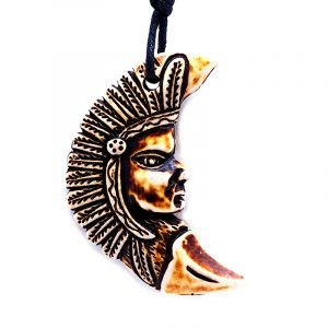 Brown Native American indian chief crescent half moon resin pendant on adjustable necklace.