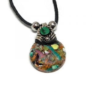 Handmade round-shaped crushed chip stone inlay cabochon pendant with resin, silver metal, and mini round chrysocolla stone on adjustable necklace in multicolored.