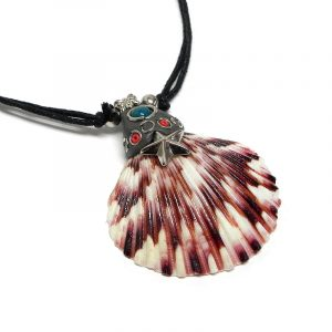 Natural dyed clam seashell pendant with silver metal starfish charm, resin, and blue bead on adjustable necklace in pink color.