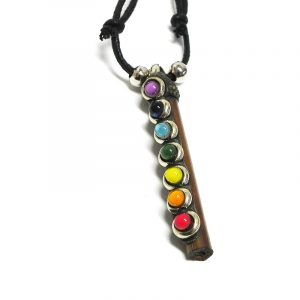 Natural wooden stick pendant with resin, silver metal, and 7 chakra rainbow-colored beads on adjustable necklace.