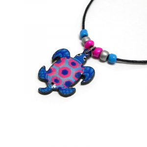 Handmade tropical sea turtle acrylic pendant with seed beads on black necklace in blue, hot pink, light blue, and silver color combination.