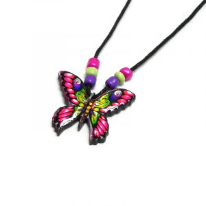 Handmade butterfly acrylic pendant with seed beads on black necklace in hot pink, lime green, purple, golden yellow, and black color combination.