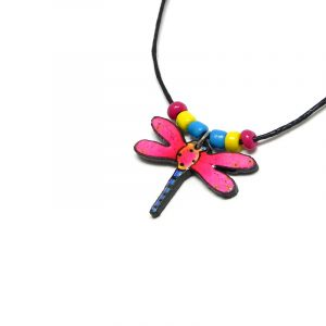Handmade dragonfly acrylic pendant with seed beads on black necklace in hot pink, yellow, turquoise blue, and black color combination.
