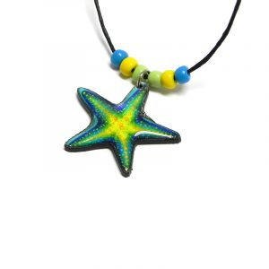 Handmade tropical starfish acrylic pendant with seed beads on black necklace in turquoise blue, yellow, and lime green color combination.