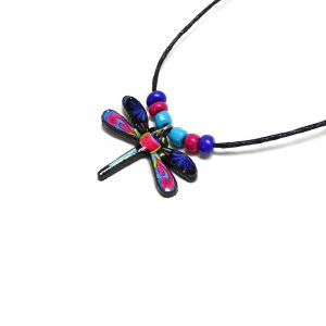 Handmade dragonfly acrylic pendant with seed beads on black necklace in blue, hot pink, turquoise, yellow, and black color combination.