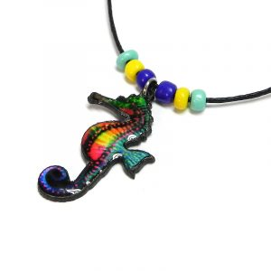 Handmade tropical seahorse acrylic pendant with seed beads on black necklace in turquoise mint, yellow, blue, and multicolored color combination.