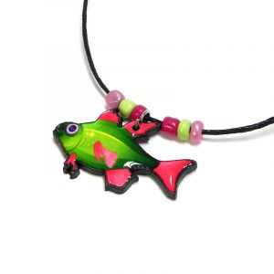 Handmade tropical pattern fish acrylic pendant with seed beads on black necklace in lime green, hot pink, and pink color combination.
