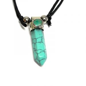 Handmade hexagonal-cut gemstone crystal point silver metal pendant with mini round chrysocolla stone cabochon on adjustable necklace in turquoise blue howlite.