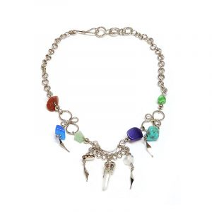 Handmade alpaca silver metal chain anklet with natural clear quartz crystal, chip stones, and metal dangles in multicolored color.