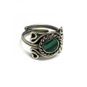 Handmade mini round-shaped flat gemstone cabochon on adjustable alpaca silver metal ring with rope edge border in green malachite.