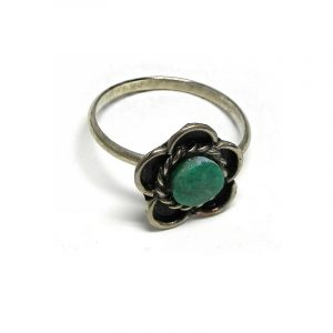 Handmade mini round-shaped flat gemstone cabochon on adjustable alpaca silver metal ring with flower design in teal green chrysocolla.