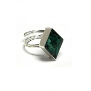 Handmade mini diamond-shaped resin and crushed chip stone inlay cabochon on adjustable silver metal ring in teal green chrysocolla.
