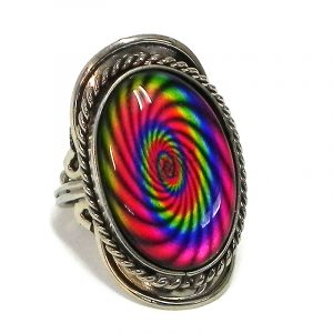 Handmade oval-shaped acrylic New Age themed psychedelic spiral graphic design on alpaca silver metal ring with rope edge border in rainbow color combination.