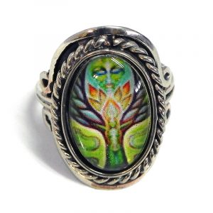 Handmade small oval-shaped acrylic New Age themed tree of life Goddess graphic design on alpaca silver metal ring with rope edge border in lime green, golden yellow, brown, and mint color combination.