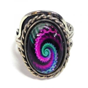 Handmade small oval-shaped acrylic New Age themed psychedelic fractal spiral graphic design on alpaca silver metal ring with rope edge border in magenta purple, mint, and black color combination.