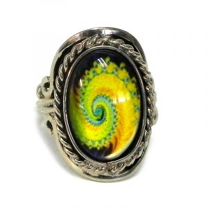 Handmade small oval-shaped acrylic New Age themed psychedelic fractal spiral graphic design on alpaca silver metal ring with rope edge border in yellow, lime green, turquoise mint, and black color combination.