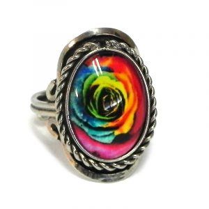 Handmade small oval-shaped acrylic New Age themed rose flower graphic design on alpaca silver metal ring with rope edge border in rainbow color combination.