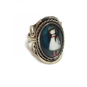 Handmade oval-shaped acrylic vintage themed doll graphic design on alpaca silver metal ring with rope edge border in dark blue, white, red, and beige color combination.