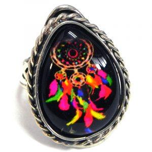 Teardrop-shaped acrylic Southwest themed dream catcher graphic design on alpaca silver metal ring with rope edge border in black and multicolored color combination.