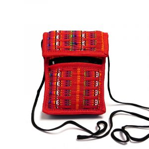 Handmade mini smartphone bag with multicolored woven cotton, hook-and-loop closure, outer zipper pocket, and strap in red.