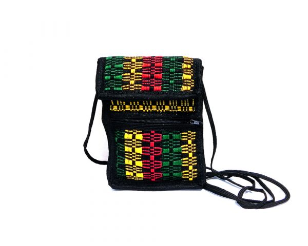 Handmade Rasta mini smartphone bag with multicolored woven cotton, hook-and-loop closure, outer zipper pocket, and strap in black.