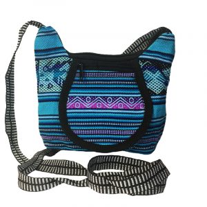 Handmade small tribal purse bag with acrylic wool material, zipper closure, outer flap pocket, and strap in light blue and purple.
