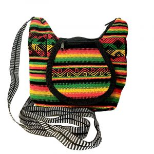 Small crossbody purse bag with tribal print striped pattern material (or manta Inca), vegan leather base, and outer flap pocket in Rasta colors.