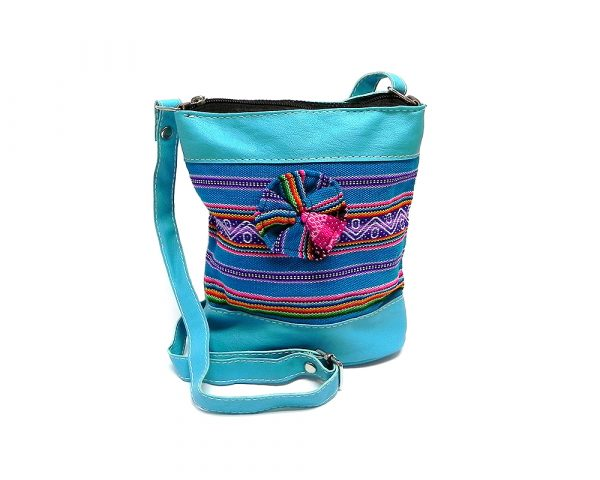 Handmade small tribal flower purse bag with vegan leather, multicolored acrylic wool, zipper closure, inner pocket, and adjustable strap in turquoise blue.
