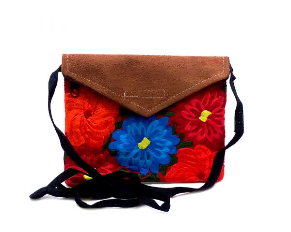Handmade mini floral envelope purse bag with tan vegan leather suede, embroidered cotton, hook-and-loop fastener and zipper closure, and strap with red fabric.