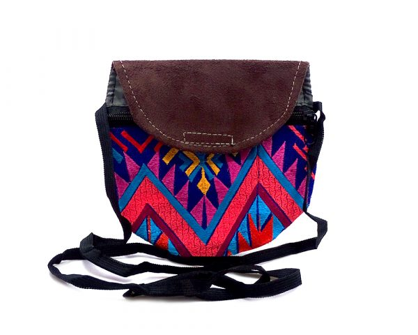 Handmade mini round tribal purse bag with brown vegan leather suede, embroidered cotton, hook-and-loop fastener and zipper closure, and strap with blue fabric.