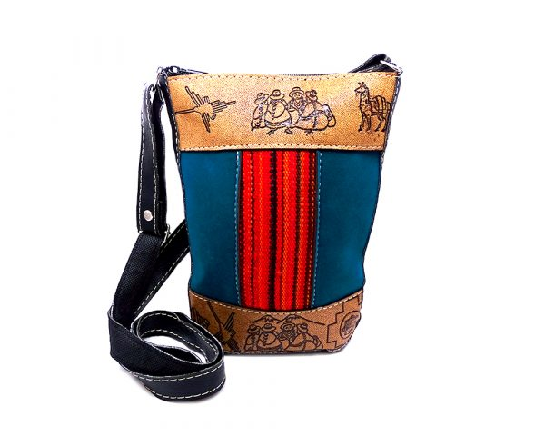 Handmade Peruvian leather purse bag with authentic leather, suede, acrylic wool, zipper closure, and adjustable strap in teal blue, brown, and orange.