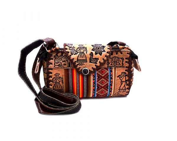 Handmade mini Peruvian purse bag with authentic leather, acrylic wool, snap button and zipper closure, and adjustable strap in multicolored and brown.