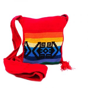 Handmade small tribal purse bag with canvas material, zipper closure, and strap in red and rainbow.