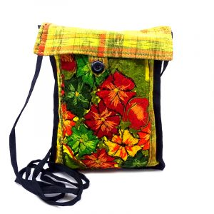 Handmade small floral purse bag with embroidered cotton, plaid fabric, button closure, and strap in yellow.