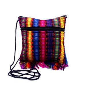 Small woven cotton square purse with multicolored stripes and fringe.